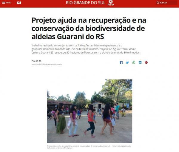 Projeto ajuda na recuperação e na conservação da biodiversidade de aldeias Guarani do RS - RBS